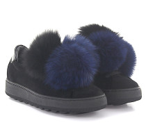 Sneaker MADELEINE LOW Samt Fuchspelz-Pompons blau