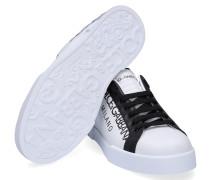 Sneaker low Portofino Kalbsleder Print schwarz