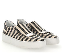 Slip-On Sneaker A79290 Stoff beige gestreift kariert