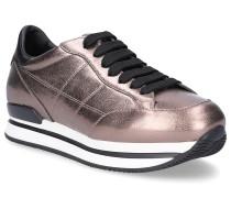 Sneaker Glattleder Logo bronze