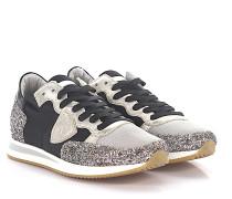 Sneaker Glattleder Glitter Kalbsleder Mesh Nylon