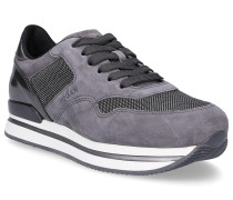 Sneaker H222 Glattleder Textil Veloursleder Logo