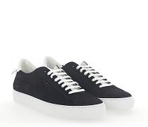 Sneaker Kalbsleder Veloursleder Logo schwarz weiß