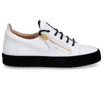 Sneaker low MAY LONDON Glattleder Samt Logo schwarz