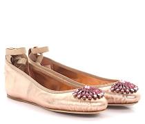 Ballerinas Grace flat Nappaleder Metallic-Optik rosa