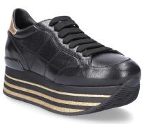 Sneaker Kalbsleder Glitzer Logo gold