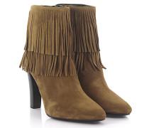 High Heel Ankle Boots Veloursleder Fransen