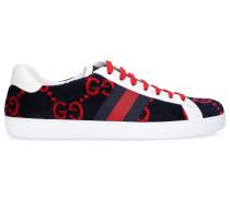 Sneaker low HMM50 Kalbsleder Samt Logo rot weiß