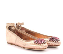 Ballerinas Grace flat Nappaleder Metallic-Optik rosa