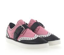 Sneaker Kalbsleder Nappaleder Logo Nieten rosa weiß