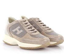 Sneaker Glattleder Kalbsleder Textil Veloursleder