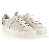 Sneaker D925090 Plateau Leder weiss Patch-Blumen