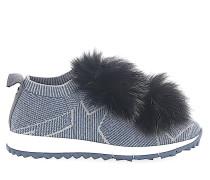 Sneaker NORWAY Stoff silber Sternenprint Pompons