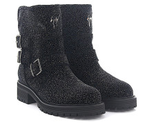 Stiefeletten Boots COMBAT Leder Stoff Glitzer