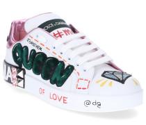 Sneaker low PORTOFINO Kalbsleder Logo Pailletten