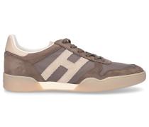 Sneaker low SPORTY Kalbsleder Logo beige