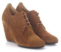 Wedge Boots Veloursleder braun Lochmuster