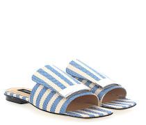 Sandalen A80380 Textil Metallspange beige