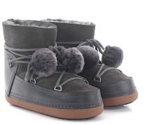 Boots CLASSIC POMPOM Lammleder dunkel Bommeln Fell