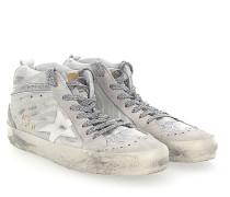 Sneaker MID STAR Veloursleder grau zebra look Glitzer