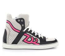 Sneaker high Nappaleder Nubukleder Leo Print pink