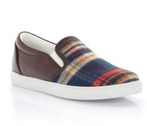 Sneakers Slip On W15K Leder braun Textil Tartan