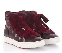 Sneaker 60278 High Top Leder Samt bordeaux