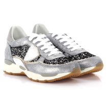 Sneakers City Bassa Leder silber finished Stoff weiß