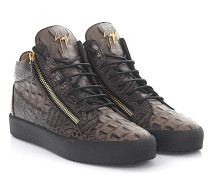 Sneaker Mid Top KRISS Leder braun Krokodilprägung