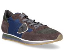 Sneaker TROPEZ Textil Veloursleder Logo Patch blau