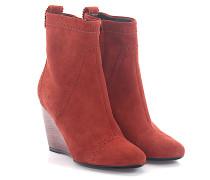 Wedge Ankle Boots Veloursleder Lochmuster