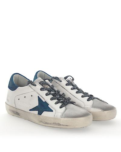 Finden Große Günstig Online Footlocker Finish Verkauf Online Golden Goose Damen Sneaker SUPERSTAR Leder weiss Star-Patch blau glitzer Outlet Limitierte Auflage Auf Der Suche Nach 4yqpUm