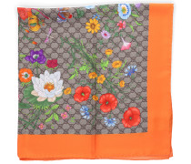 Tuch CA FLORA Seide Blumenmuster Logo orange