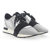 Sneaker RACE RUNNER Leder silber Stoff grau Mesh grau