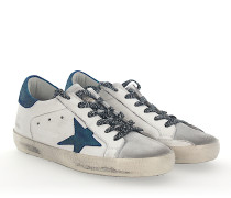 Sneaker SUPERSTAR Leder weiss Star-Patch blau glitzer
