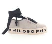 Sneaker Veloursleder Logo Print hellgrau