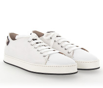 Sneaker Canvas Glattleder Logo braun