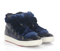 Sneaker 60278 High Top Leder Samt Krokodilprägung