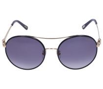 Sonnenbrille Round B68S Leder Metall gold