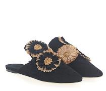 Slipper 112884 Textil Blumen-Deko Stickerei