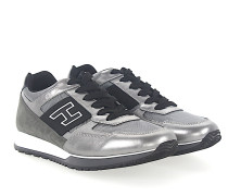 Sneaker Kalbsleder Metallisch schwarz