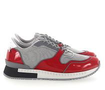 Sneaker RUNNER Lackleder rot Mesh grau