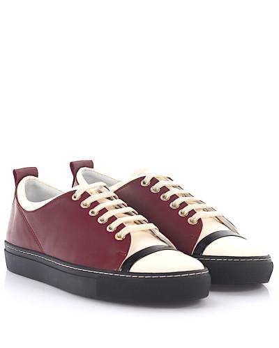 Sneaker Glattleder Lackleder Lammleder bordeaux