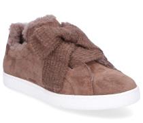 Sneaker low 8518 Veloursleder Schleife taupe