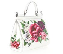 Handtasche Schultertasche Leder geprägt Blumenmuster