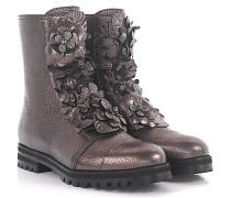 Stiefel Boots Havana Flat Leder Mocca Blumen-Appliqué