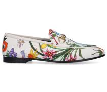 Loafer 9ZIF0 Canvas Blumenmuster Horsebit-Detail