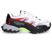 Sneaker low BOUNCE Kalbsleder Mesh Logo gelb grau
