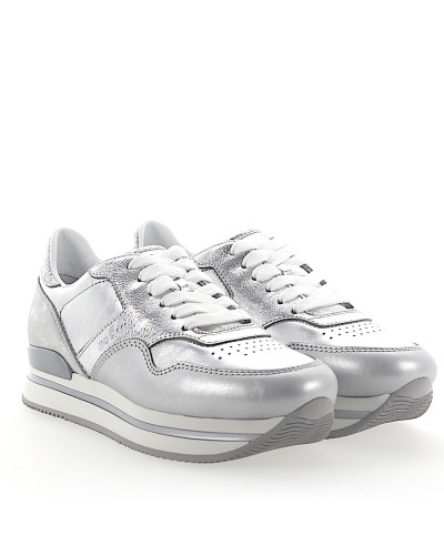 Sneaker H222 Plateau Leder metallic silber finished