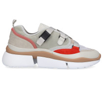 Sneaker low SONNIE Kalbsvelours Materialmix beige